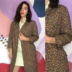 VINTAGE 60s Groovy Floral Trench Coat Army Green
